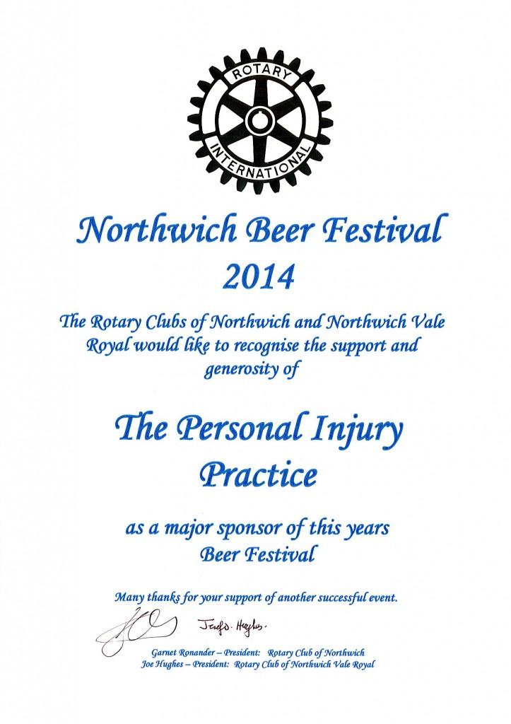 Northwich Beer Festival Certificate